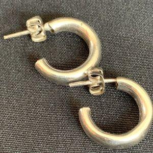 """Small Sterling Silver Hoop Stud Earrings 5/8"""""""